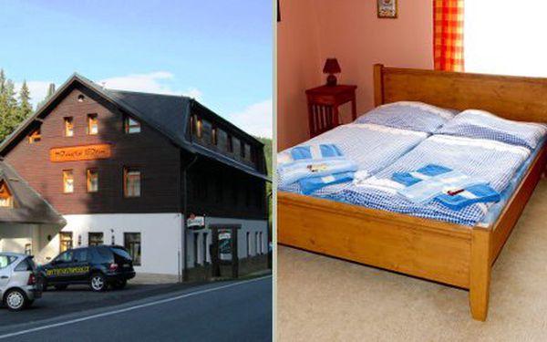 Třídenní pobyt pro 2 osoby v penzionu Panský dům na šumavské Kvildě za 1500 Kč. Cena zahrnuje ubytování na 2 noci pro 2 osoby, snídaně, neomezené využití bazénu a hodinu sauny.