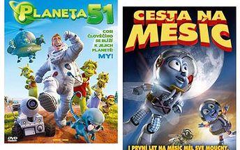 Dvě DVD rodinných megafilmů - Cesta na Měsíc a Planeta 51. Skvělá zábava nejen pro vaše děti.