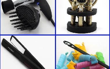 Poštovné ZDARMA! SADA pro péči o vlasy - magnetická natáčky, žehlička,fén, difuzér, kartáče, zrcadlo!