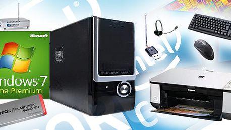 Opravdu skvělá stolní mašina + IflashDisk 64GB + 5L Heineken + brašna + tiskárna + myš a klávesnice + dvbT a rádio tuner + sluchátka s mikrofonem + wifi routr!! To musíte mít!!