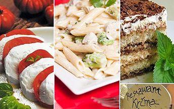 Uno, due, tre, chuť Itálie podávaná v tříchodovém menu se slevou 54 %. Mozzarela, čerstvé rajčátka, penne se sýrovou omáčkou a na závěr smyslné tiramisu.
