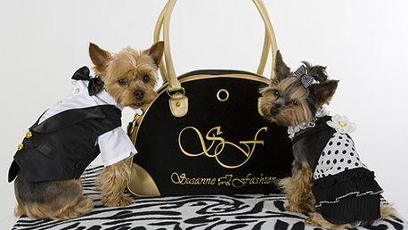 Hop do tašky, pejsku! Stylová a luxusní černozlatá kabelka Susanne Fashion pro vaše psí kamarády se slevou 40% za 1490 Kč! Dopřejte si luxus a svým pejskům pohodlí!