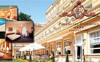 Luxusní 4 - denní relaxační pobyt s různými druhy koupelí pro dvě osoby v Parkhotelu Richmond**** s plnou penzí v Karlových Varech! Pouze 8 kupónů k dispozici!