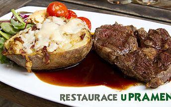 84 Kč za 300g steaku z vepřové krkovičky na portském víně s přílohou dle vlastního výběru. Báječná večeře v restauraci U Pramene v Dejvicích. Propečená HyperSleva 60 %.