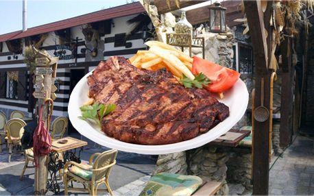 250g pravého hovězího steaku přímo z grilu na zázvoru s grilovacím kořením v útulné restauraci na Praze 6, příloha dle Vašeho výběru!