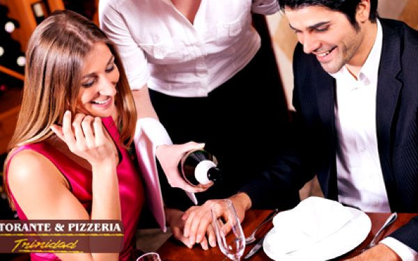 Romantická večeře pro 2 osoby s lahodným vínem v příjemném prostředí Ristorante and Pizzeria Trinidad. Bruscheta al pomodoro, grilovaný kotlet na bylinkách s pečeným bramborem a lahev italského vína Cielo za 396 Kč.