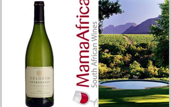 Láhev jihoafrického vína Delheim Chardonnay 2006 za 129 Kč.