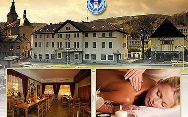48% sleva na skvělý pobyt v Krkonoších pro dva se spoustou doplňkových služeb. Užívejte si 2 noci a 3 dny v malebném horském prostředí, relaxujte v sauně a při masáži a pochutnejte si na vybraném čtyřchodovém menu.