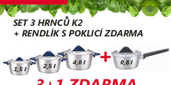 SET 3 HRNCŮ K2 OD TESCOMY z prvotřídních materiálů + RENDLÍK SPOKLICÍ ZDARMA ideální pro rychlou a současně šetrnou přípravu pokrmů. Nyní za bezkonkurenční cenu 820,-Kč + 79,-Kč doprava.