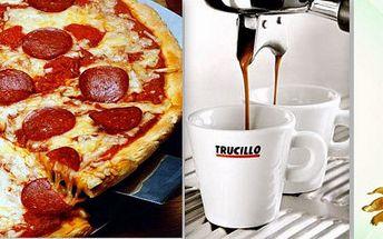 2x skvělá pizza,domácí Tiramisu a káva Trucillo