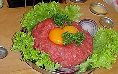 Pouhých 349 kaček za výbornej 500g tatarák z hovězí svíčkové + 10 topinek (20 půlek) k tomu! Oblíbená pochoutka s topinkami a křupavou slevou 54% ve stylové restauarci Rubín! V restauraci WIFI internet ZDARMA!