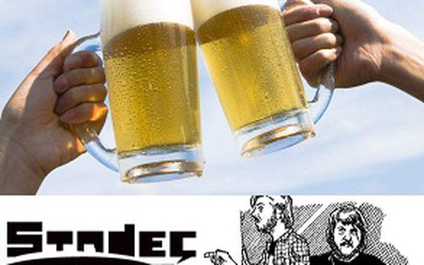 2 velká točená piva za pouhých 28 Kč! Přijďte si užít zábavu a posedět do multikulturního centra STADEC a pořádně to rozjeďte se slevou 50%!
