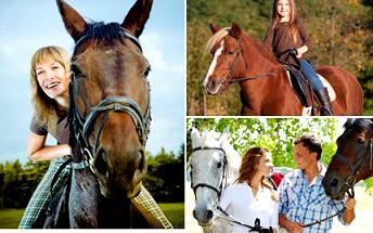 Osedlejte si svého koně a užijte vyjížďku v přírodě nebo se naučte základům v jízdárně. Obdivujte s 50% slevou svět z koňského sedla.