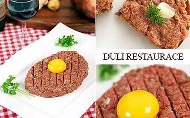 Nejlepší TATARÁK v Liberci za polovic! Se slevou od Aukrocity jich můžete mít klidně víc. 50% sleva na 200g tatarský biftek se 4 topinkami v v restauraci Plzeňka-Duli.