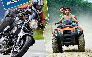 Chcete si užívat celý den pořádný adrenalin? Rozjeďte to s motorkou nebo čtyřkolkou na plný plyn! 63% sleva na CELODENNÍ pronájem motorky či čtyřkolky s plnou nádrží v Auto Moto Centru Jan Jandovský.