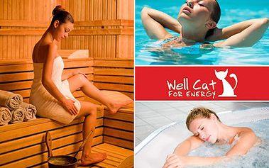 Užijte si víkendovou relaxaci! Ve WELL CAT jde o naprostou senzaci. 50% sleva na 2 hodiny relaxace v sauně, bazénu, nebo výřivce ve wellnes areálu Well Cat.