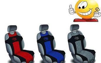 Originální autotriko. Vystailujte si své auto, nebo ochraňte sedačky před špínou! 3 různé barvy - modrá, červená, nebo šedo černá.
