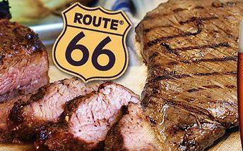 MAXI PRKNO (600 GRAMŮ MASA) až pro 3 osoby, 2 malé Plzně, bagety a grilovaná zelenina s 53% slevou jen za 299 Kč!! Navštivte steak bar Route 66 a ušetřete s portálem Berslevu.cz 340 Kč!!