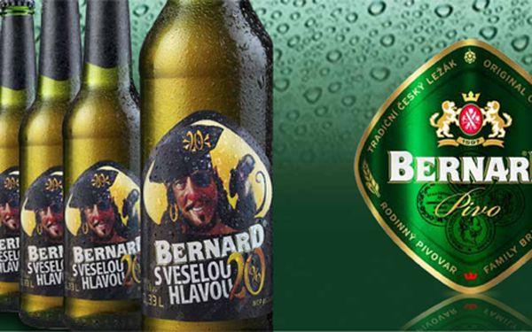 359 Kč za karton 24 piv limitované edice BERNARD sveselou hlavou! Poctivé dvacetistupňové pivo kdvacátému výročí se slevou 50 %.