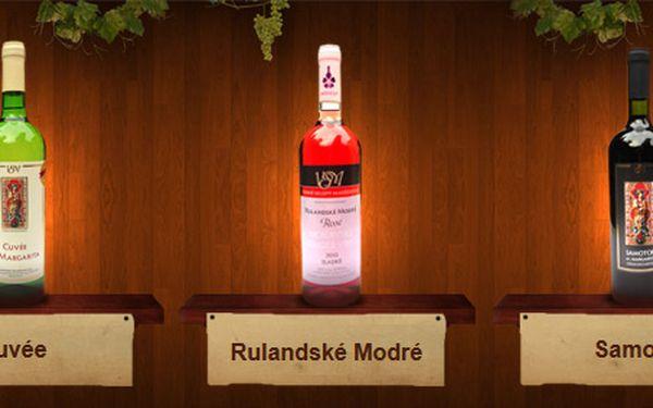 368 Kč za TŘI moravská vína z Vinných sklepů Maršovice. Výjimečný zážitek a víno oceněné medailí Král vín 2009 se slevou 50 %.