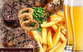 Dejte si pivečko a DVĚ flákoty masa, s 50% slevou je cena i pro chuďasa. 50% sleva na DVA 300 gramové steaky s oblohou a pivečkem ve stylové restauraci Dřevák.