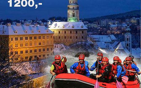 Novoroční adrenalinový sjezd Vltavy na raftech z Českého Krumlova do Zlaté Koruny (zapůjčení a doprava raftu, neopren, konzumace prasete) jen za 1200,-