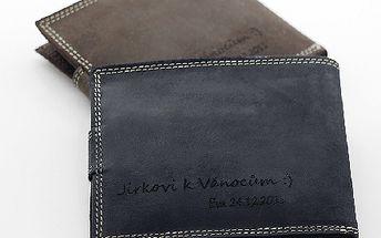 Pravá KOŽENÁ peněženka Loranzo s vaším TEXTEM ! Nový vzor! Super dárek pod sromeček:-)
