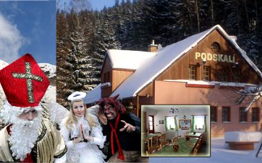 Medový víkend s Mikulášem pro dvě dospělé osoby a dvě děti s polopenzí a masážemi v útulném penzionu Podskalí v Adršpašsko - teplických skalách!