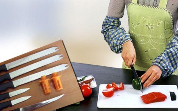 Sada 6 nožů z velmi kvalitní chirurgické oceli od americké firmy Twin towers trading + 2 odšťavňovače na citrusové plody + kráječ na zeleninu! Vše za 365 Kč, sleva 70%!