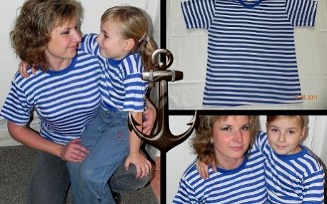 Originální dárek! 2 pruhovaná vodácká trička jen za 198 Kč! Vyberte si velikost, která se Vám hodí do lodi. Připravte se řádně na vodu! Modrobílé pruhované triko, 65% bavlna, 35% polyester.