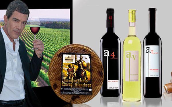 1 323 Kč za TŘI vína Antonia Banderase, 1 kg sýru Queso Manchego a cca 1 kg šunky Jamón Serrano Bodega. Kvalitní víno a španělské delikatesy se 40% slevou!