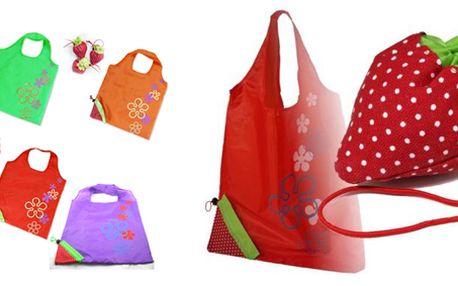 Konec nevzhledným igelitkám! Skládací taška ve tvaru jahody s výběrem ze 6 barev je praktický dárek a skvělý doplněk.