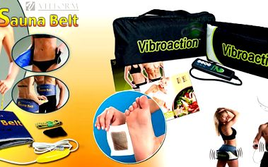 Skvělý balíček k relaxaci,detoxikaci a redukci váhy ! V saděje pás VIBROACTION, ovládač , napájení , měřítko , taška, Detox. náplasti 10 ks, Sauna Belt - VELFOR