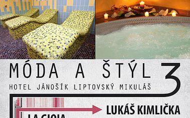 WELLNESS víkend pre 2 osoby s polpenziou a módnou show LUKÁŠA KIMLIČKU v hoteli Jánošík****! S komfortným ubytovaním v Liptovskom Mikuláši, vstupom do hotelového saunového sveta, bazéna, vírivky a tepidária! Teraz so zľavou až 41%!