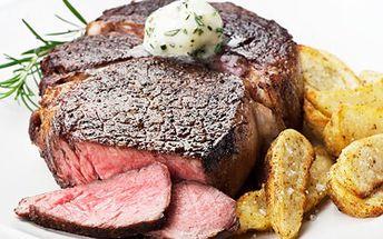 Argentinský steak s přílohou a zeleninou, chuťové buňky se slastí rozplynou! 57% sleva na 2 x 200 g hovězího steaku pro dva z argentinské svíčkové.
