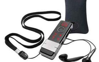Designový MP3 přehrávač ONYX s 1 GB pamětí, USB kabel, červené podsvícení, dotyková tlačítka a černý obal. Jen za 599 Kč