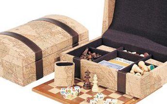 Unikátní sada 7 společenských zábavných her. Zahrajte si domino, šachy, dámu, karty, kostky, backgammon nebo pasiáns (solitaire)