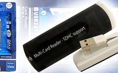 Čtečka paměťových karet pro mobilní telefony, fotoaparáty a tablety za pouhých 38 Kč. Nabízená čtečka zaujme malými rozměry, kabelem schovaným uvnitř těla a praktickým poutkem!
