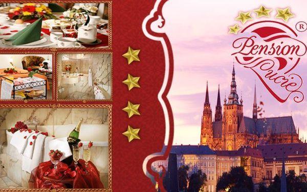 Romantický 3 denní pobyt pro 2 osoby se snídaní v luxusním pražském pensionu lucie**** superior! V ceně je 1x snídaně do postele, pokoj vyzdobený plátky růží a láhev sektu + jahody na pokoj! Soukromé wellness s vířivkou a saunou zdarma!