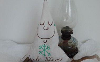 Dekorační solný polštářek plněný skořicí, hřebíčkem, kůrou citrusů, navoněný skořicovým esenciálním olejem. Malý duch Vánoc pro vánoční pohodu.