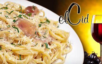 LUXUSNÍ ROMANTICKÁ VEČEŘE v restauraci el Cid Corso se slevou 58%!! 2xPasta con proshutto s parmskou šunkou, pancettou, hráškem a smetanou a láhev červeného moravského vína za pouhých 299 Kč!!