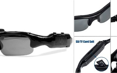 MediaTech 3RAY - sluneční brýle s vestavěnou kamerou! Video a zvukový záznam na paměťovou kartu, která je součást balení! Nejlepší cena v ČR!
