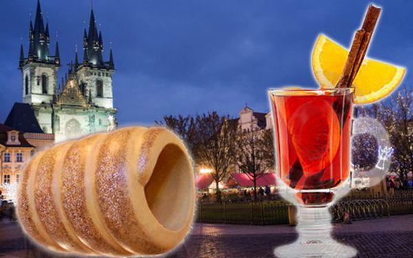 2x trdelník a 2x svařené víno na vánočních trzích v Praze, Českých Budějovicích, Brně a v Plzni.