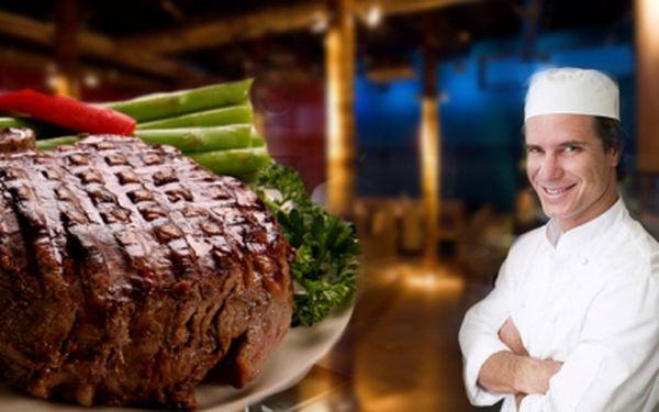 GURMÁNSKÝ ZÁŽITEK jen za 69 Kč! Pochutnejte si na 250g steaku v restauraci nad PRAŽSKÝM HRADEM! Na výběr ze 3 druhů steaků! Sleva 63%!