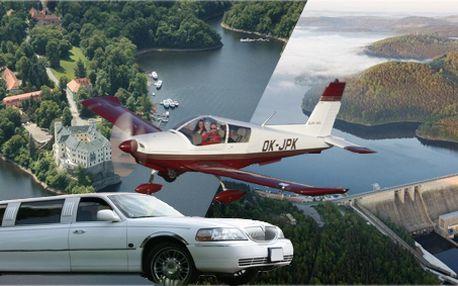 30 minut vyhlídkový let nad zámkem Orlík, hradem Zvíkov a v okolí s dopravou luxusní limuzínou z Prahy!