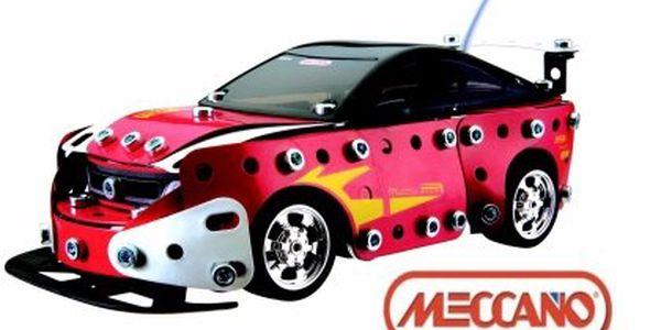 Auto Meccano RC Tuning Red – stavebnice RC auta na dálkové ovládání. Součástky z ohebného kovu bez paměťového efektu, podvozek a ovládání od firmy NIKKO