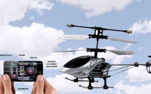 Helikoptéra na ovládání pomocí Iphone, Ipod, Ipad za akční cenu 1299 Kč! Revoluční novinka, díky které oslníte všechny kolem vás. Jedinečný dárek pro kamarády, děti nebo kolegy v práci! Sleva 59% !