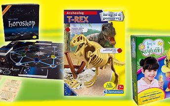 Na výběr ze tří oblíbených her pro děti: ARCHEOLOG T-REX, HOROSKOP - hra o věstbě a osudu, PŘÍRODNÍ SVÍČKY - zdobení dle fantazie!