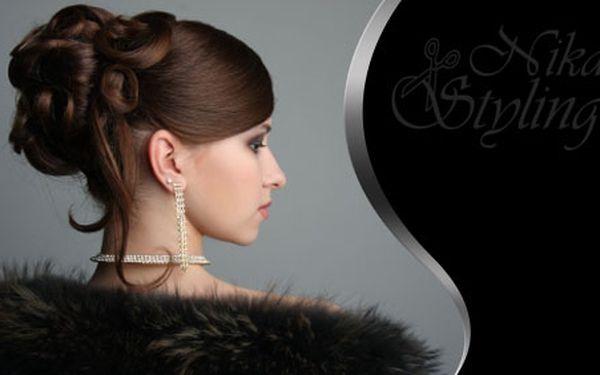 Přitažlivá a krásná za jedinečných 299 Kč! Účes s celkovou stylizací! Buďte královnou plesu se senzační HyperSlevou 60%!