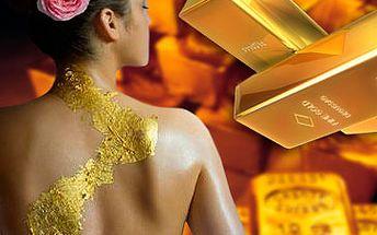 Luxusní masáž zad i šíje a zábal 24karátovým zlatem za skvělých 460 Kč! Nejde o rozmařilost! Prospěšné účinky zlata na pokožku jsou prokázány! Dopřejte si tuhle luxusní péči a nechte se hýčkat stejně jako královna Kleopatra s fantastickou slevou 62 %!
